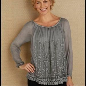 Soft Surrounding Sheer Embroidered Blouse Small